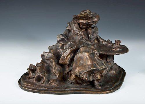 Elegante Dame am Tisch Sitzend, an important bronze after the original by Bernhard Hoetger, (German,