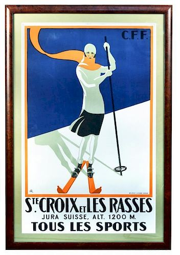 R. H., Ste. Croix-Les Rasses, Jura Suisse, circa 1922, lithograph in colours, printed by E.Studer, Y