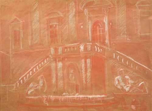 Christopher Wood (British, 1901-1930) Villa D'Este red chalk 23 x 31cm (9 x 12in) <br>Provenance: Th