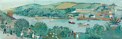 """Fred Yates (British, 1922-2008) River scene, Cornwall signed lower right """"Fred Yates"""" oil on board 2"""