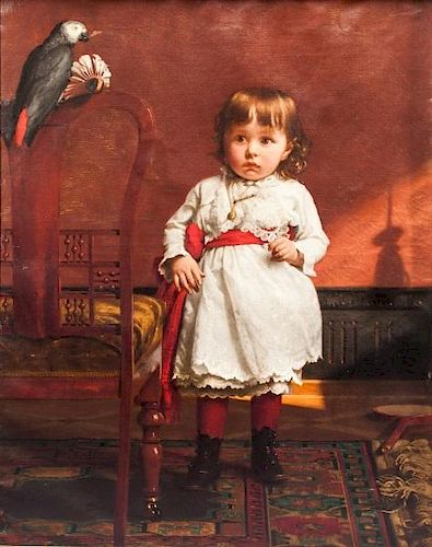 Seymour Joseph Guy (1824-1910) Little Girl in White Dress with Parrot