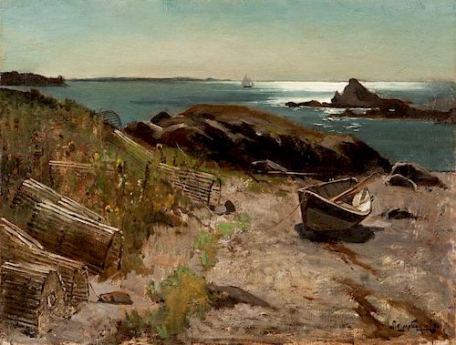 Willard Leroy Metcalf (1858-1925) Dory and Lobster Traps