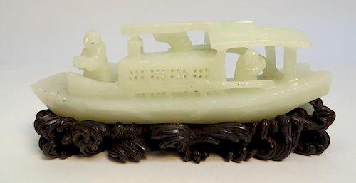 White Jade Carved Boat