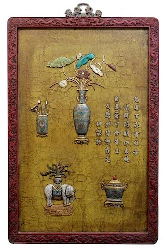 Lacquer, Cloisionne & Stone Mounted Wall Hanging