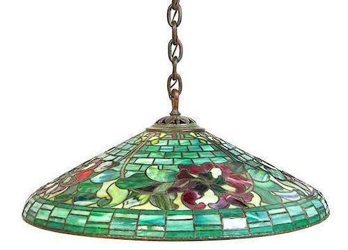 A Duffner And Kimberly Leaded Glass Shade, Diameter 28 inches.