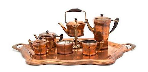 A Tiffany Studios Copper Tea and Coffee Set, Width of tray over handles 32 1/8 inches.