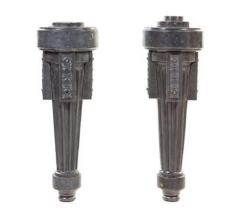 A Pair of Prairie School Iron Single-Light Sconces, from the Wrigley Chewing Gum Factory, Height 34 x width 13 inches.
