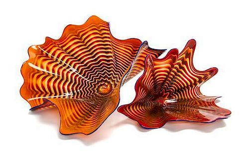 An American Studio Glass Two-Piece Sculpture, Dale Chihuly (b. 1941), Width of wider 23 inches.