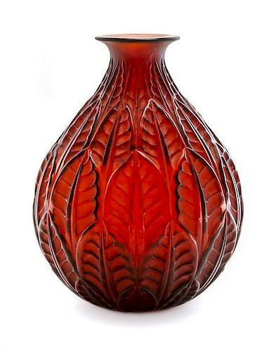 A Rene Lalique Molded and Frosted Glass Vase, Height 9 3/8 inches.