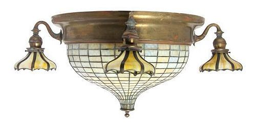 A Handel Leaded Glass and Brass Ceiling Mount Fixture, Diameter overall 36 inches.