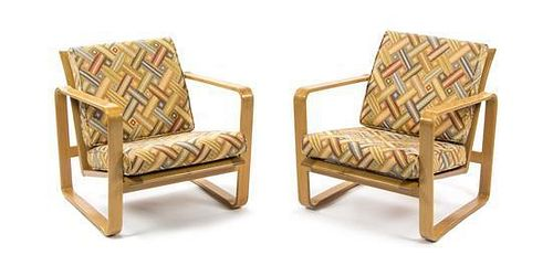 * A Pair of Edward Wormley Bentwood Lounge Chairs, for Dunbar, Height 30 inches.