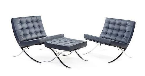 A Pair of Palazetti Chromed Chairs and Ottoman, after Mies van der Rohe, Height of chair 30 1/2 inches.