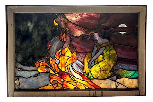 * An American Art Nouveau Leaded and Stained Glass Window, Height 46 1/2 x width 27 3/4 x depth 1 3/4 inches.