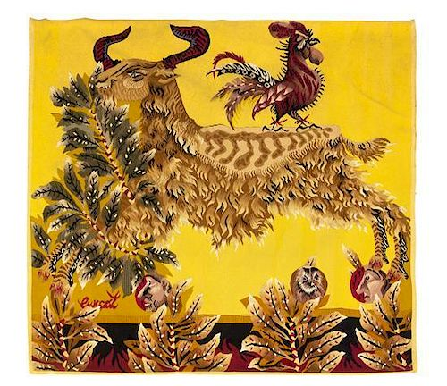 A Jean Lurcrat Wool Tapestry, Height 52 x width 58 inches.