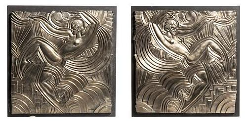 * A Pair of Art Deco Style Silvered Bronze Plaques, after the Model By Maurice Picaud, for the Folies Bergere, Height 20 1/2 x w