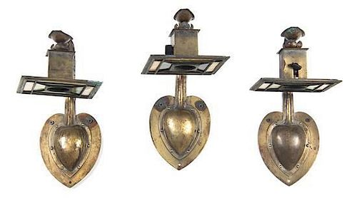 A Set of Three Arts and Crafts Brass and Slag Glass Sconces, Height 12 x width 6 inches.