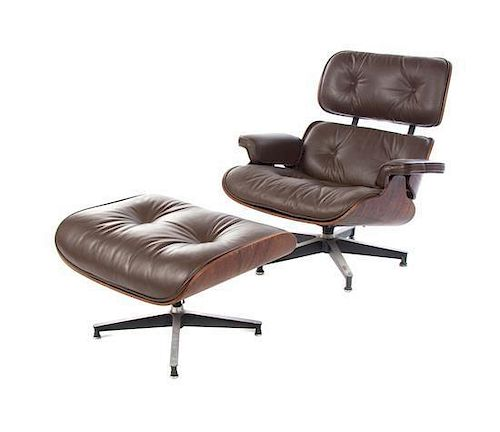 A Charles and Ray Eames Rosewood 670 Lounge Chair and 671 Ottoman, Height of chair 33 1/2 inches.