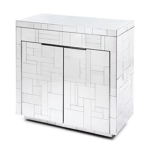 A Paul Evans Chromed Steel Cityscape Cabinet, for Directional, Height 35 x width 36 x depth 18 inches.