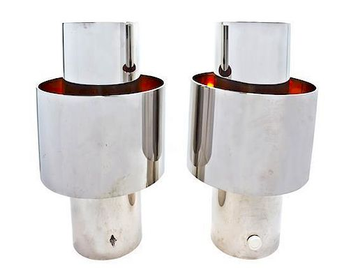 * A Pair of Willy Rizzo Chromed Table Lamps, Height 25 1/2 inches.