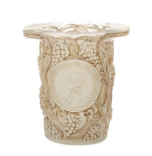 A Rene Lalique Molded and Frosted Glass Wine Cooler, Height 9 inches.