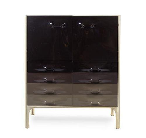 A Raymond Loewy Steel and Molded Plastic DF 2000 Tall Cabinet, Height 49 3/8 x width 41 x depth 19 7/8 inches.