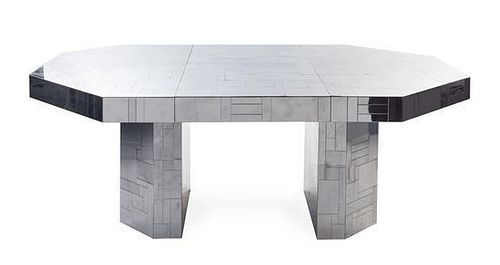 A Paul Evans Chromed Steel Cityscape Extension Table, Height 32 1/4 x width 54 x depth 54 3/8 inches (closed).