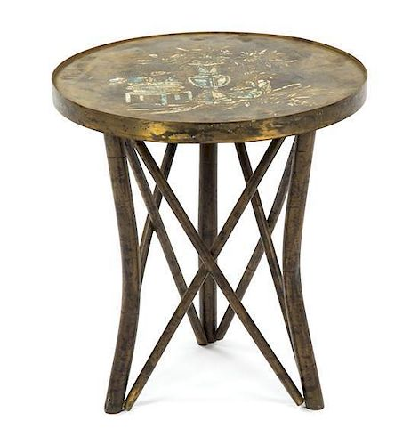 A Philip and Kelvin Laverne Bronze Occasional Table, Height 19 x diameter 18 inches.