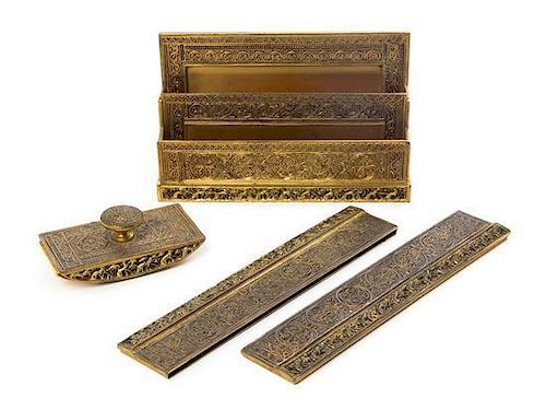 * A Tiffany Studios Dore Bronze Four-Piece Desk Set, Width of first 10 inches.