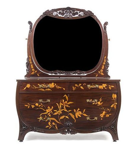 An Art Nouveau Mahogany and Marquetry Chest of Drawers with Mirror, Height 73 x width 55 1/4 x depth 23 1/2 inches.