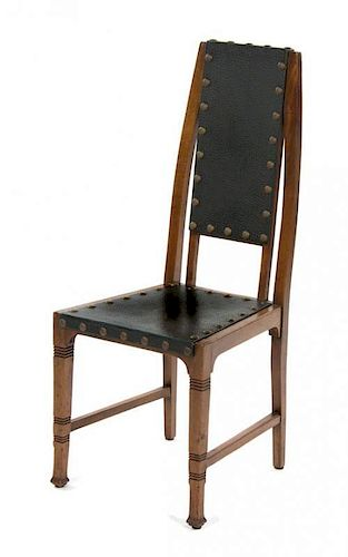 A Secessionist Oak Side Chair, Height 41 1/4 inches.