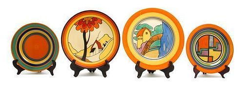 Four Clarice Cliff Bizarre Ware Pottery Plates, Diameter of largest 10 inches.
