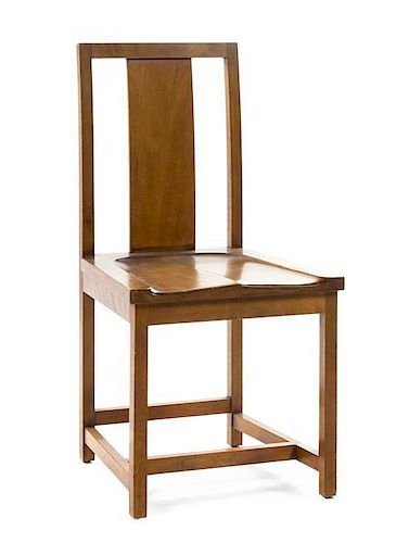 * A George Washington Maher Oak Side Chair, from the Ernest L King Rockledge House, Height 35 3/4 inches.