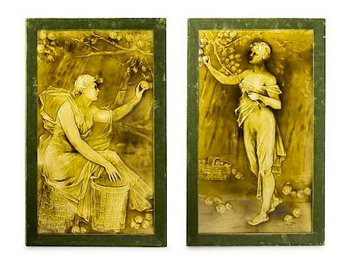 A Pair of English Pottery Panels, Burmantofts, Height 28 x width 15 1/4 inches.