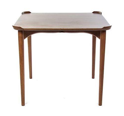 * A Finn Juhl Teak Card Table, For Baker, Height 28 1/2 x width 32 x depth 32 inches.