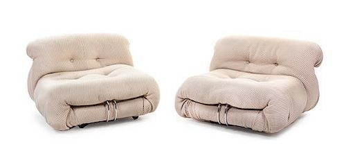 * A Pair of Afra and Tobia Scarpa Soriana Chairs, for Cassina Height 24 inches.