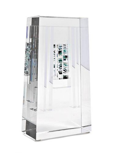An American Studio Glass Sculpture, Jon Kuhn (b. 1949), Height 11 1/2 x width 6 1/4 x depth 3 3/8 inches.