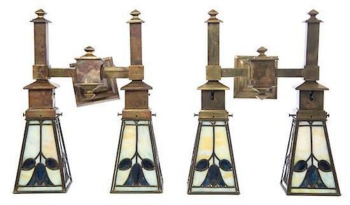 A Pair of American Arts and Crafts Brass and Leaded Glass Two-Light Sconces, attributed to Bradley and Hubbard, Height overall 1