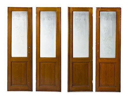 A Set of Four Belgian Art Nouveau Doors, Height 89 x width 26 5/8 inches.