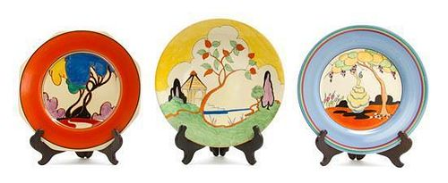 Three Clarice Cliff Bizarre Ware Pottery Plates, Diameter 9 inches.