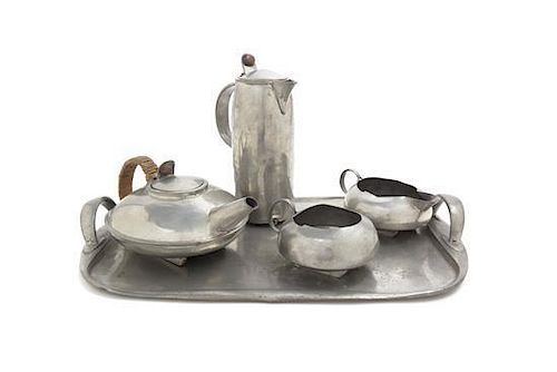 A Tudric Pewter Tea and Coffee Service, Archibald Knox for Liberty & Co., Height of tallest 9 1/2 inches.
