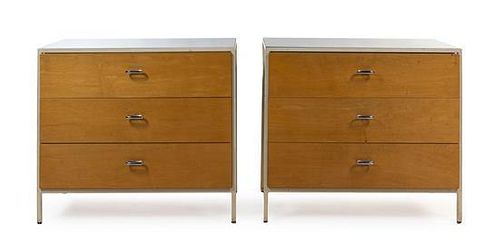 * A Pair of George Nelson Steel Frame Chest of Drawers, for Herman Miller, Height of pair 29 1/2 x width 33 1/2 x depth 17 inche