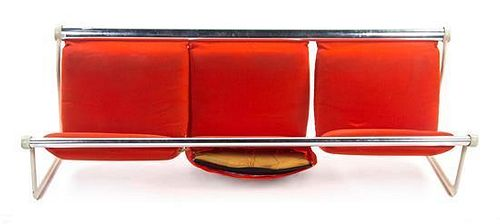 * A Bruce Hannah and Andrew Morrison Aluminum Sofa, for Knoll, Width 83 inches.