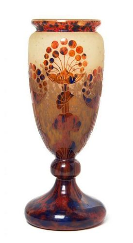 * A Le Verre Francais Cameo Glass Vase, Height 12 1/2 inches.