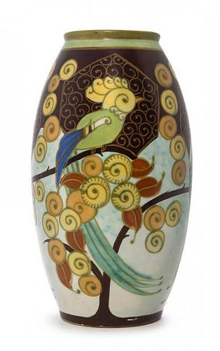 A Keramis Pottery Vase, Height 11 3/4 inches.