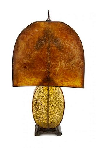 A French Art Deco Mica and Glass Table Lamp, Height 23 1/2 inches.
