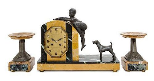 An Art Deco Cast Metal and Marble Mantle Clock, Height of clock 11 1/2 x width 14 5/8 inches.