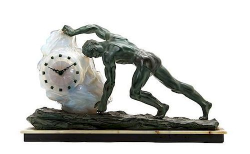 A Cast Metal and Molded Glass Sisyphus Figural Clock, after Max Le Verrier, Height 14 3/4 x width of base 25 3/8 x depth 5 1/2 i