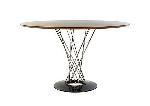 An Isamu Noguchi Laminated and Enameled Steel Cyclone Table, Height 28 3/4 x diameter 47 5/8 inches.