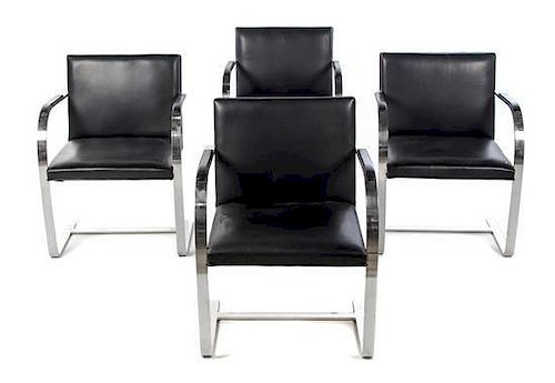 A Set of Four Ludwig Mies Van Der Rohe Brno Chairs, for Knoll, Height 30 inches.