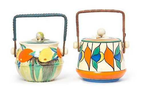Two Clarice Cliff Bizarre Ware Pottery Biscuit Barrels, Height of tallest 7 inches.